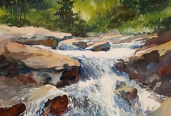 """Original Watercolor Demo """"Lincoln Park Waterfalls"""""""