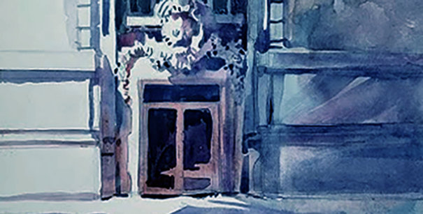 "Original Watercolor Demo ""Manhattan Historical building"""