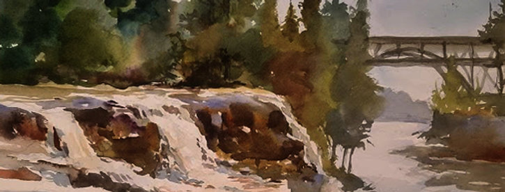 """Original Watercolor Demo """"Gooseberry Falls State Park"""""""