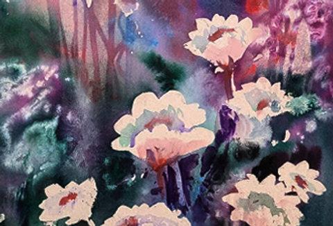 "Original Watercolor Demo ""Fantasy Flowers"""