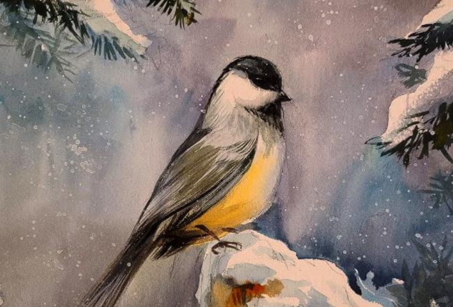 """Original Watercolor Demo """"Chickadee"""""""