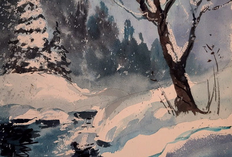 "Original Watercolor Demo ""Winter Creek"""