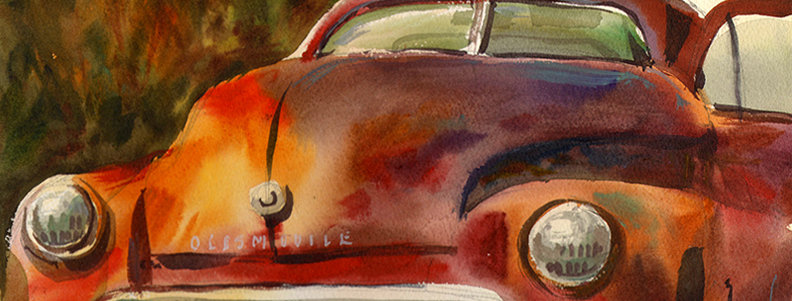 "Original Watercolor Demo ""Oldsmobile"""