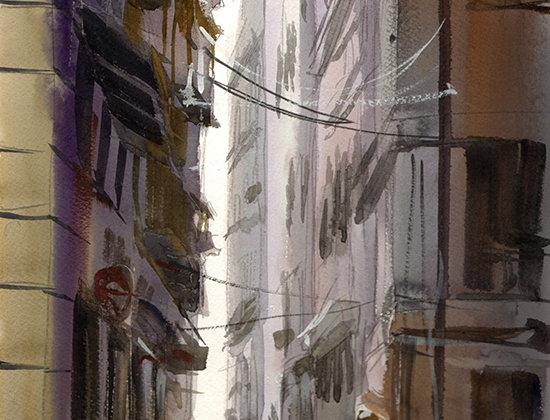 """Original Watercolor Demo """"Busy Euro Street"""""""