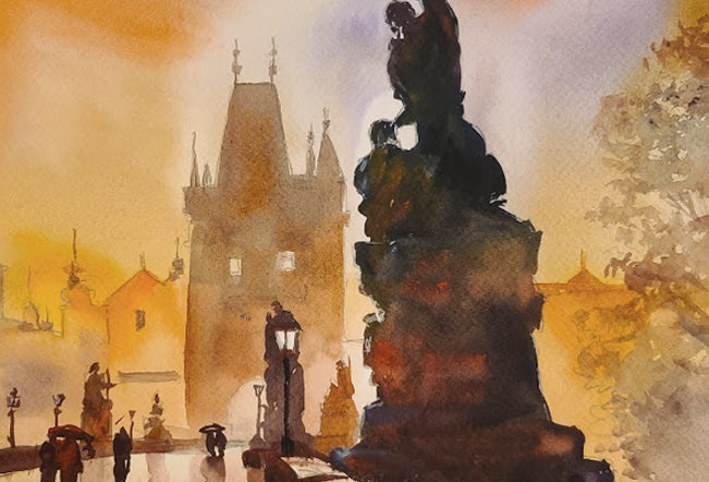 "Original Watercolor Demo ""Another Charles Bridge"""