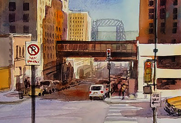 "Original Watercolor Demo ""3rd and W2nd St Duluth"""