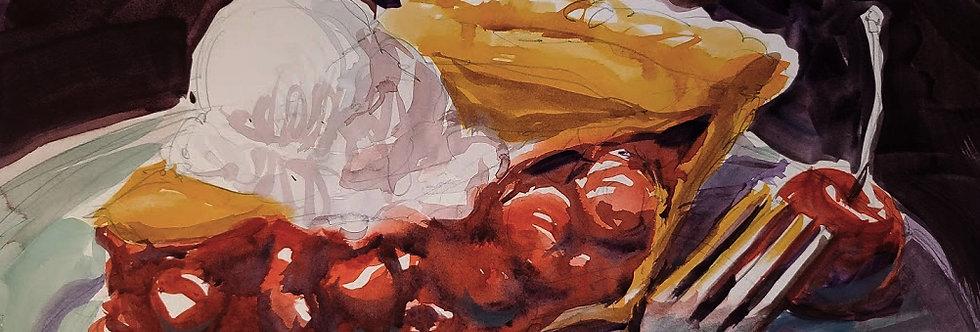 "Original Watercolor Demo ""Cherry Pie YUM"""