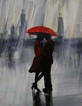 12 raining on red umbrella