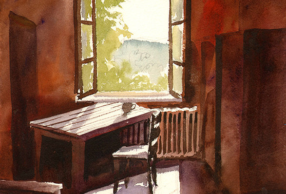 "Original Watercolor Demo ""Germany Interior"""