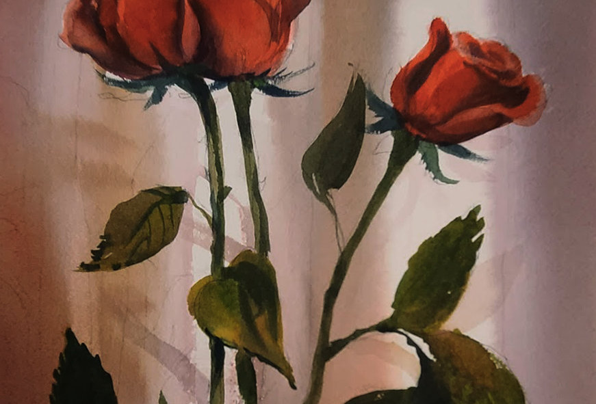 "Original Watercolor Demo ""Love You Roses"""