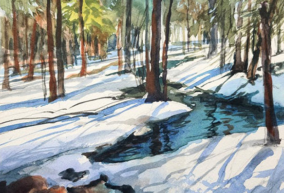 "Original Watercolor Demo ""Duluth Snowy River"""