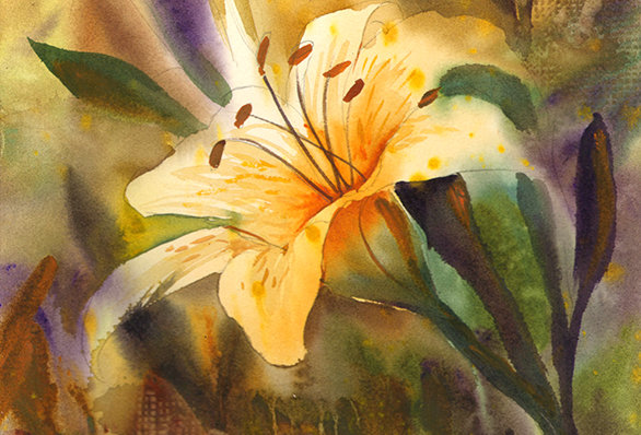 "Original Watercolor Demo ""Orange Lily"""