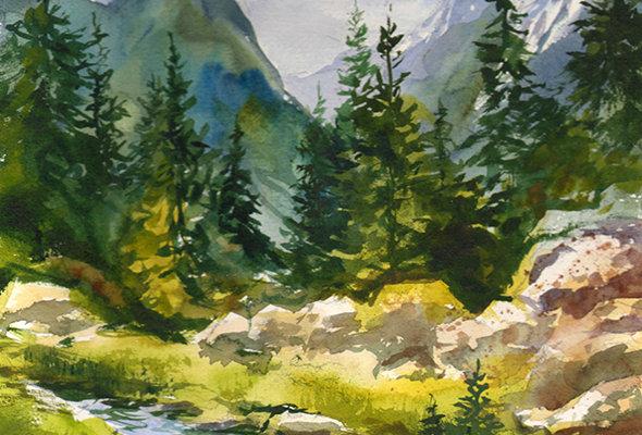 "Original Watercolor Demo ""Mountain Creek"""