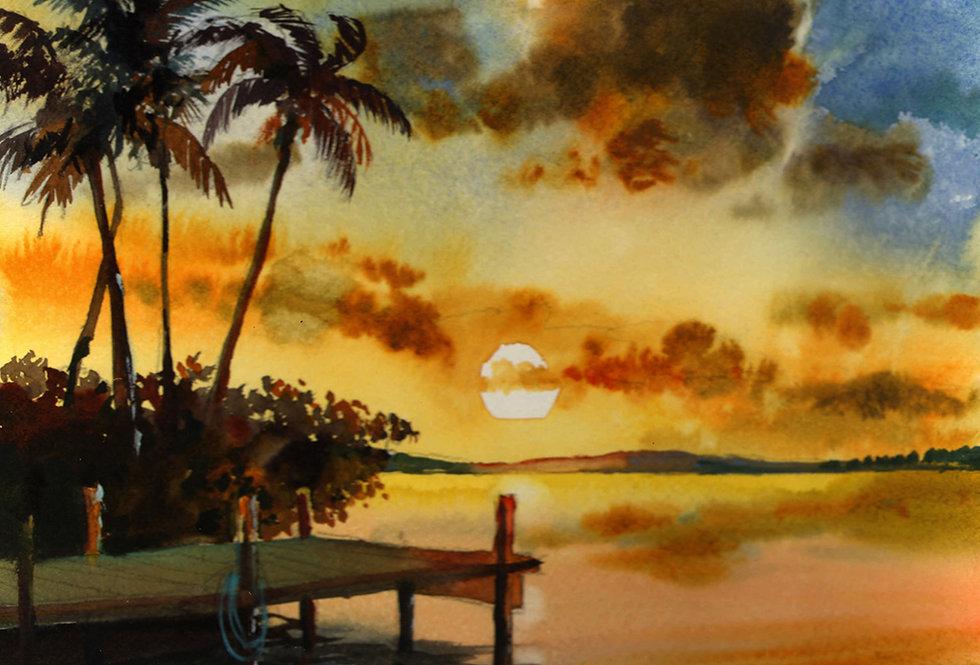 "Original Watercolor Demo ""Sunset Palms Florida"""