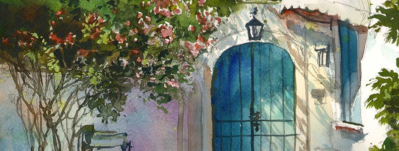 "Original Watercolor Demo ""Greek Islands"""