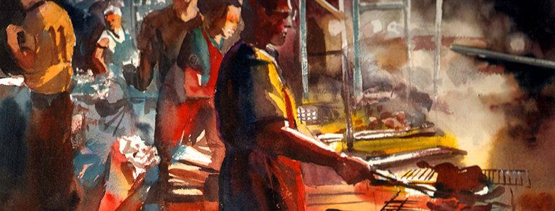 """Original Watercolor Demo """"Cooking Vendor"""""""