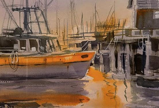 "Original Watercolor Demo ""Maine Boat"""
