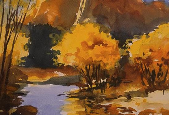 "Original Watercolor Demo ""Mountain Stream West """