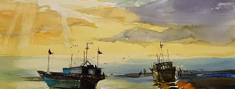 "Original Watercolor Demo ""Low Tide"""