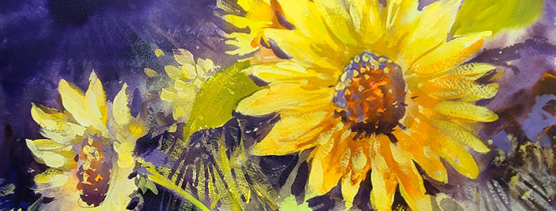 "Original Watercolor/Acrylic Demo ""Sunflower with Purple"""