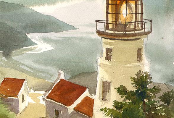"Original Watercolor Demo ""Lighthouse"""