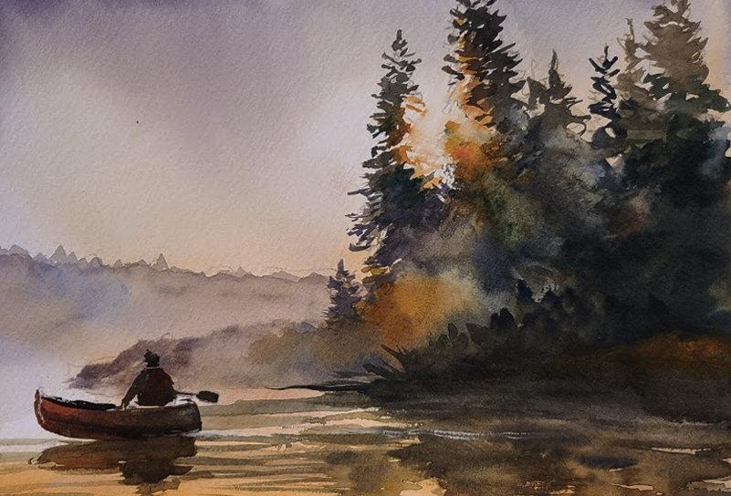 """Original Watercolor Demo """"Sunset Paddling"""""""