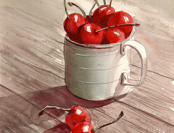 "Original Watercolor Demo ""Cherries on the Side"""