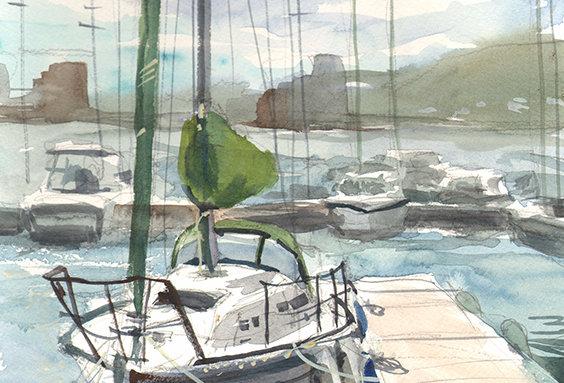 """Original Watercolor Demo """"Duluth Harbor"""""""