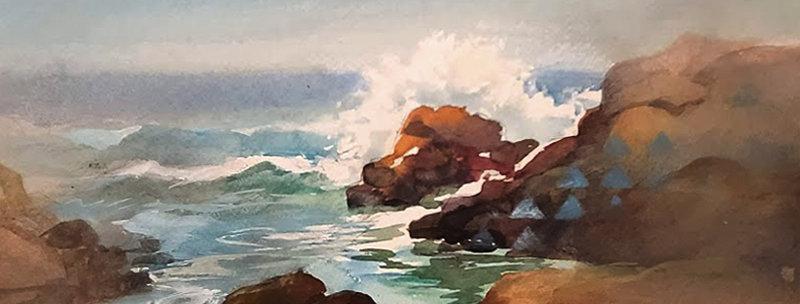 "Original Watercolor Demo ""Surfs Up"""