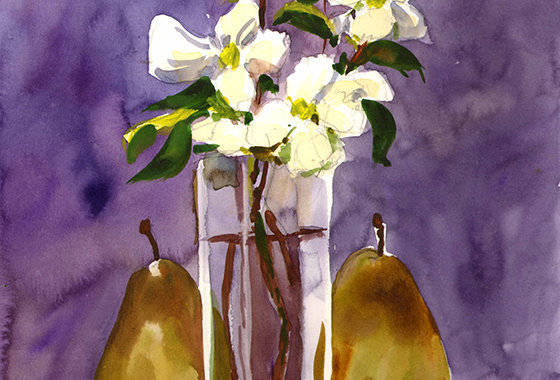 "Original Watercolor Demo ""Pear Flowers"""