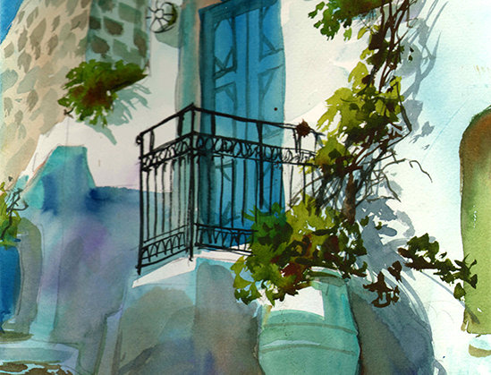 "Original Watercolor Demo ""Greek Islands"""