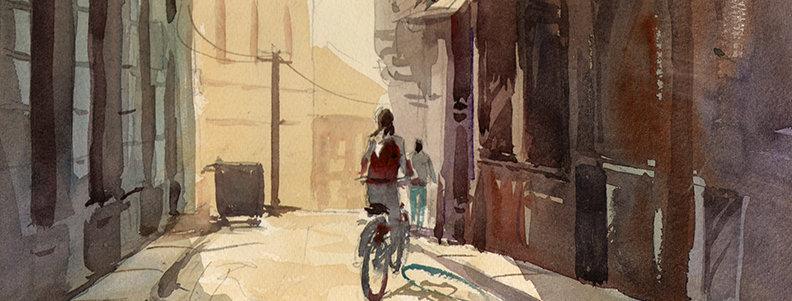 """Original Watercolor Demo """"Biking in France"""""""