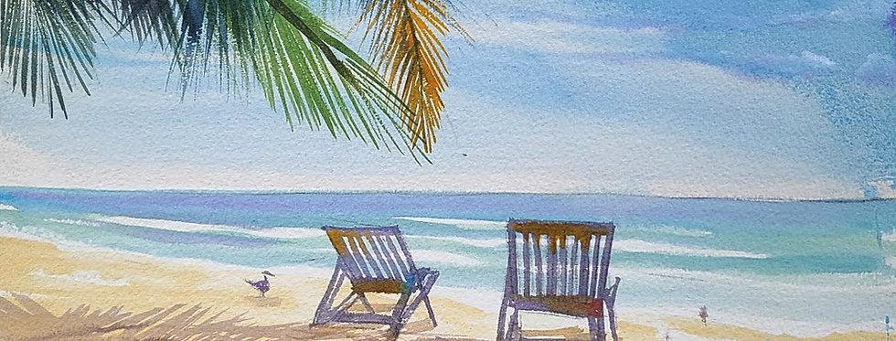 """Original Watercolor Demo """"Beach Shadows"""""""