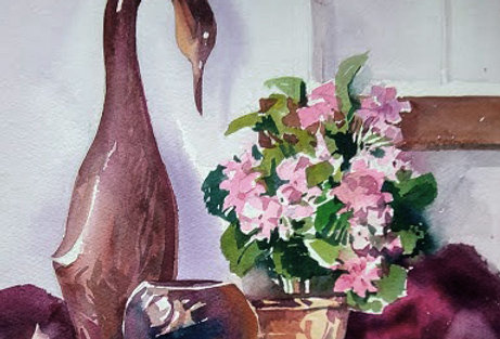 "Original Watercolor Demo ""Porcelain Still Life """
