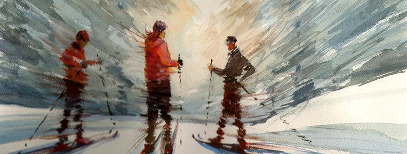 """Original Watercolor Demo """"Ski Fun!"""""""