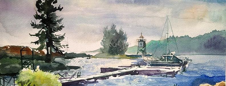 "Original Acrylic Watercolor Demo ""Artist Point Grand Marais"""