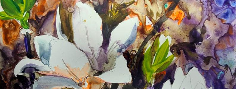 "Original Watercolor Demo on Yupo ""Flowering Burst"""