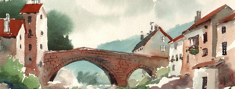 """Original Watercolor Demo """"Italian Bridge"""""""