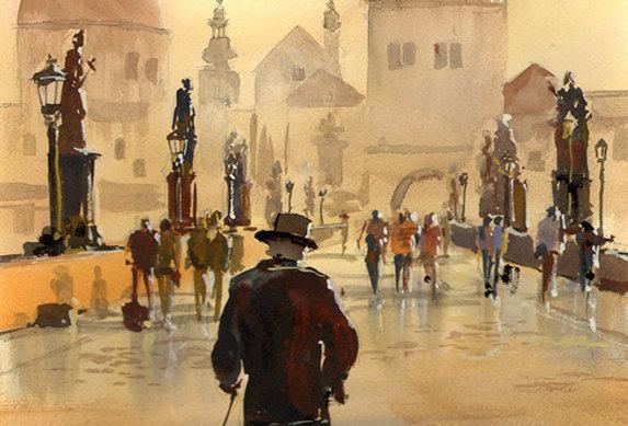 """Original Watercolor Demo """"Charles Bridge Dog Walker"""""""