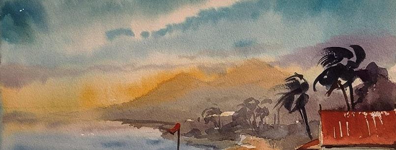 "Original Watercolor Demo ""Island Winds"""