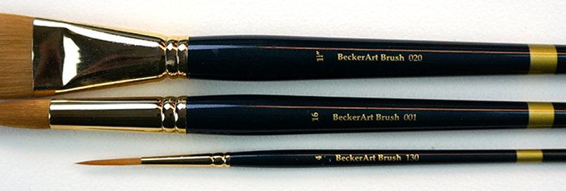 "BeckerArt 1-1/4"" Flat, #16 Round, #4 Rigger brushes"