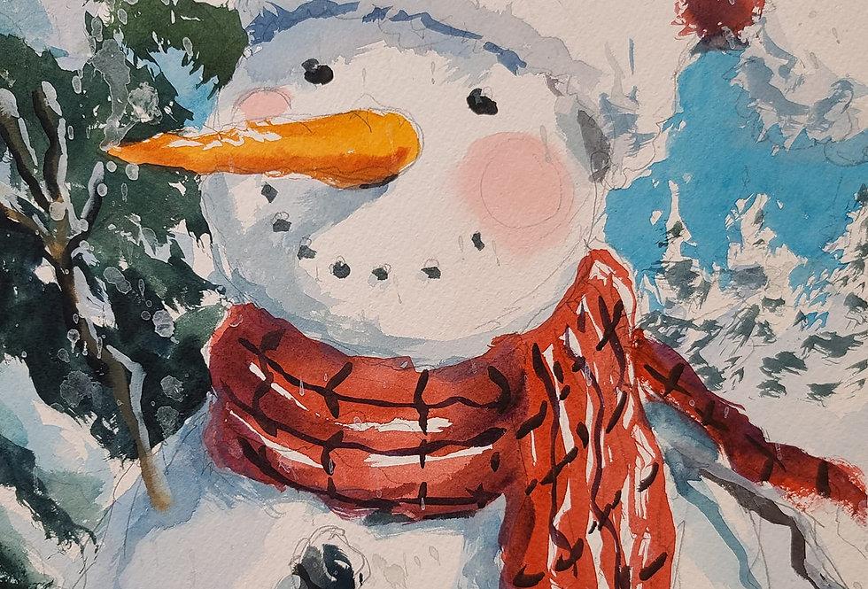 """Original Watercolor Demo """"Frosty"""""""