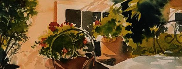 """Original Watercolor Demo """"Outdoor Cafe"""""""