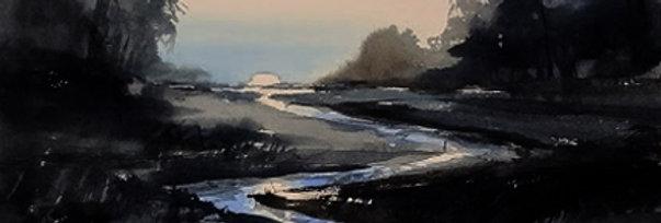 """Original Watercolor Demo """"Sunset Creek"""""""