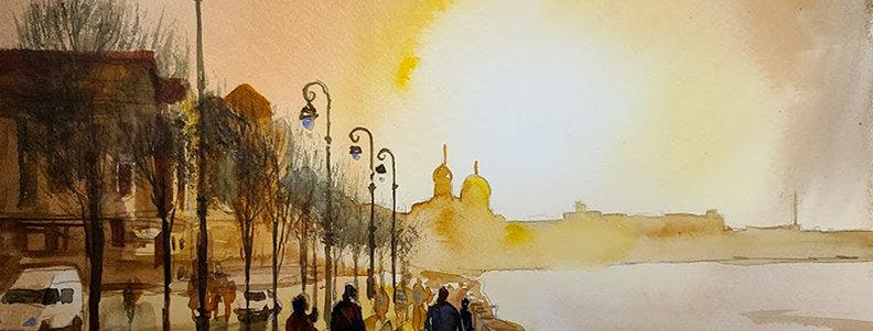 "Original Acrylic Watercolor Demo ""European Sunset"""