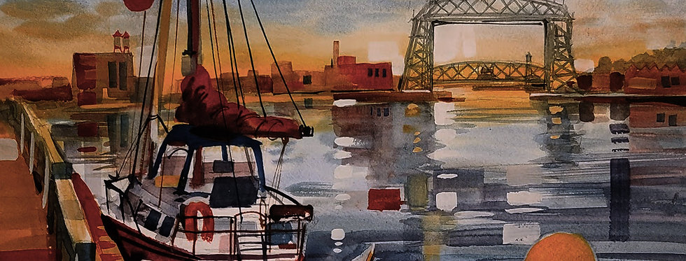 "Original Watercolor Demo ""Abstract Sailing Duluth MN"""