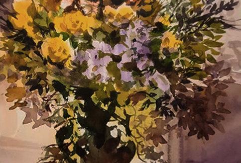 "Original Watercolor Demo ""Mother's Day Flowers"""