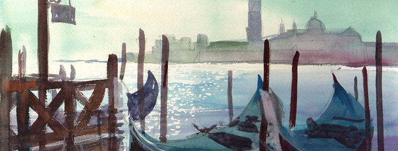 "Original Watercolor Demo ""Venice Boats"""