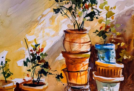 """Original Watercolor Demo """"Potted Plants Greece"""""""