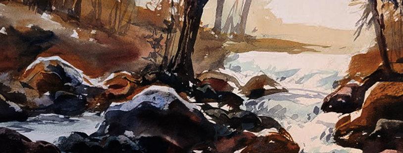 "Original Watercolor Demo ""Northwoods Waterfall"""